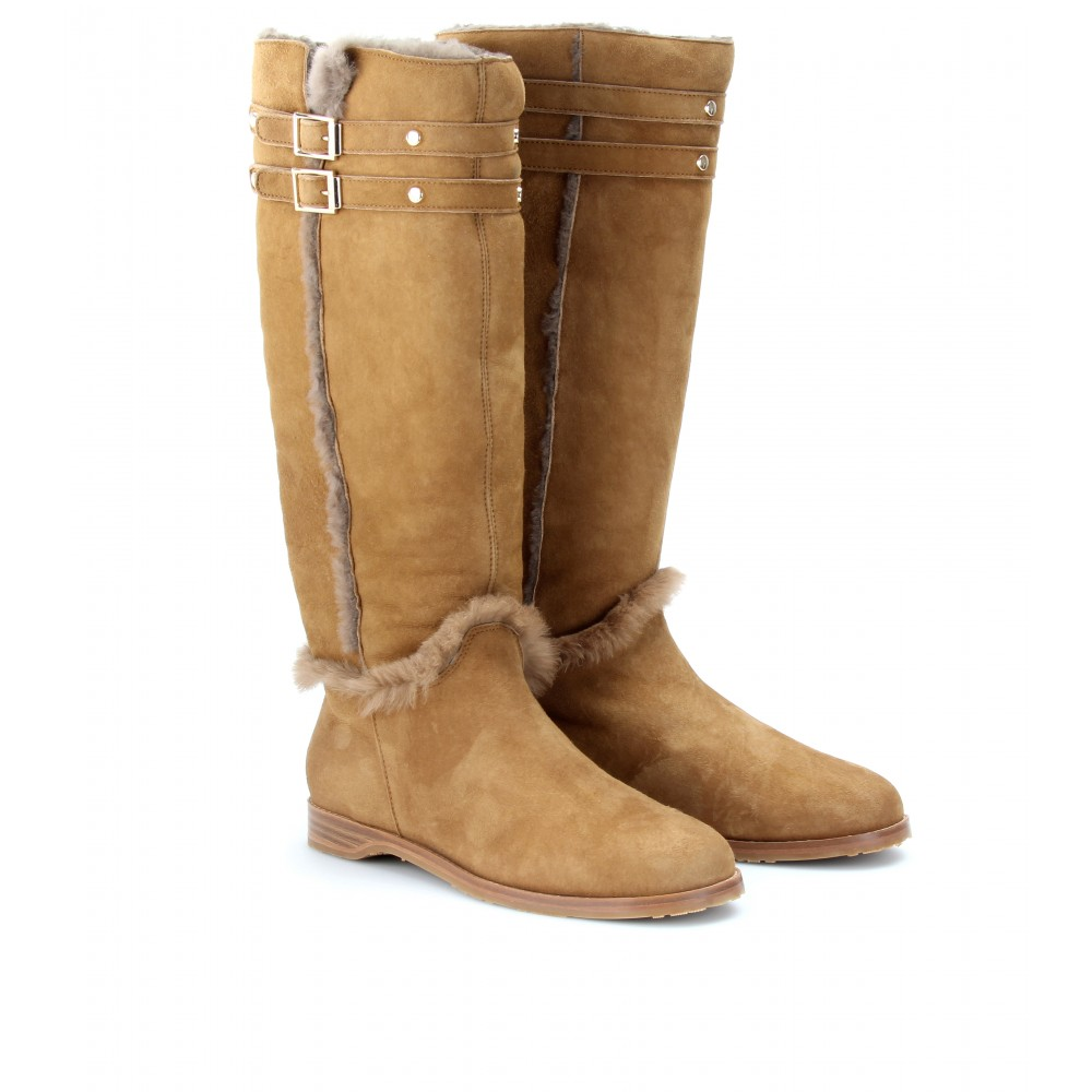 mytheresa.com -  Jimmy Choo - HARVEST SHEARLING LINED SUEDE BOOTS - Luxury Fashion for Women / Designer clothing, shoes, bags