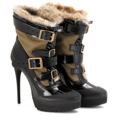 PARKA BUCKLE BOOTS WITH FUR TRIM