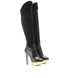 CORDELIA SUEDE AND LEATHER OVER-THE-KNEE BOOTS