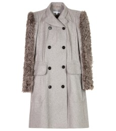 FUR SLEEVE WOOL FELT COAT