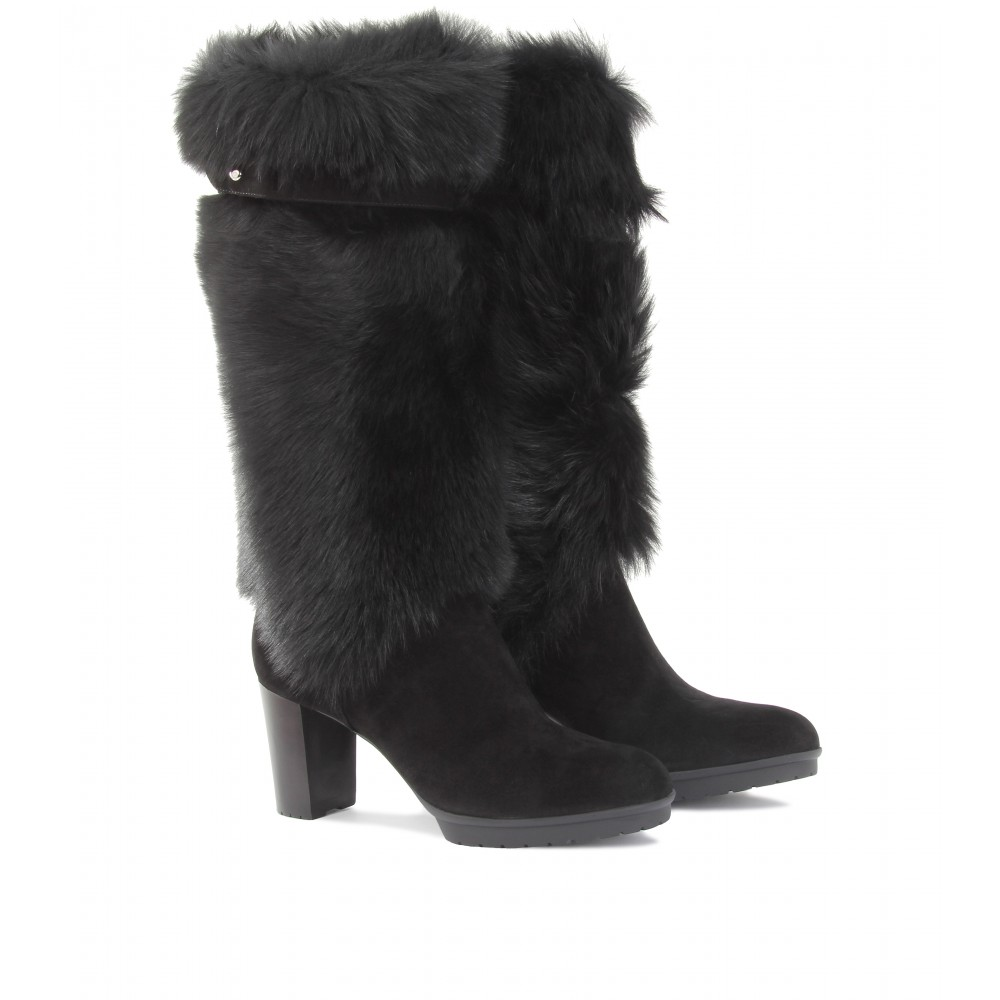 mytheresa.com -  Gianvito Rossi - FUR DETAILED TALL BOOTS - Luxury Fashion for Women / Designer clothing, shoes, bags from mytheresa.com