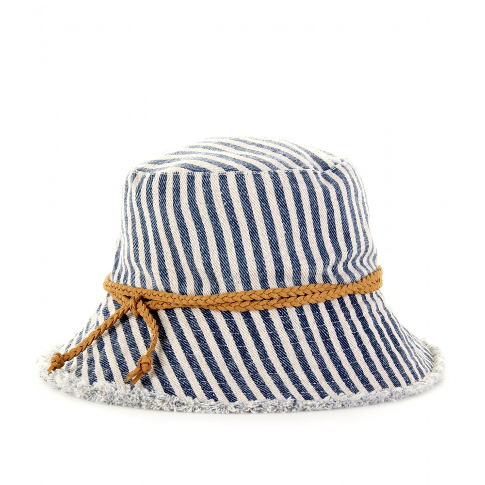 STRIPED DENIM HAT - Luxury Fashion for Women / Designer clothing, shoes, bags :  butterfly hats striped denim hats