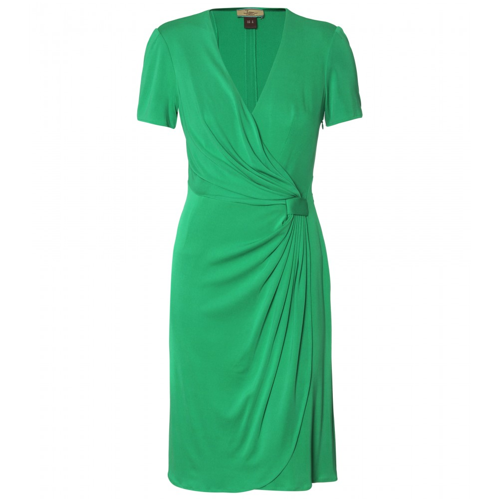 mytheresa.com -  Issa - SOLID DRAPED SILK WRAPPED DRESS - Luxury Fashion for Women / Designer clothing, shoes, bags :  shift dresses grass green draped wrap dress