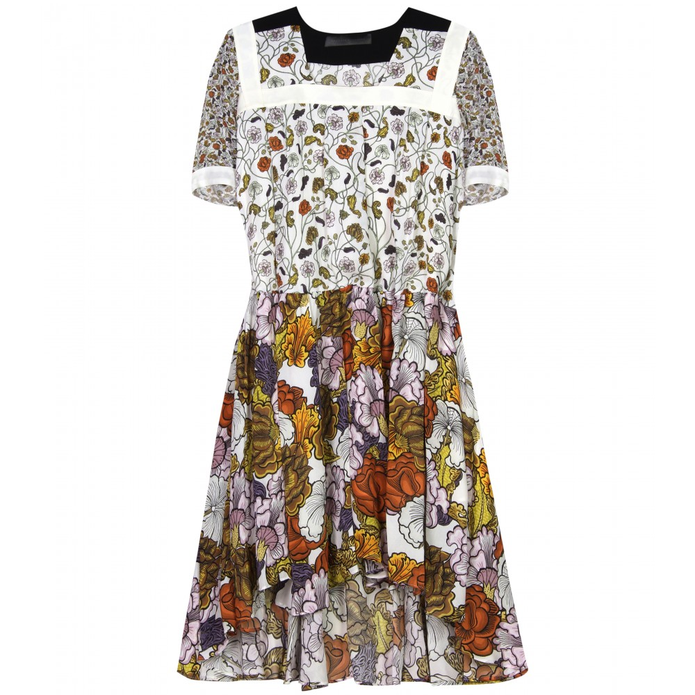 FLORAL PRINT SILK-GEORGETTE DRESS  :  luxury dress floral print dress