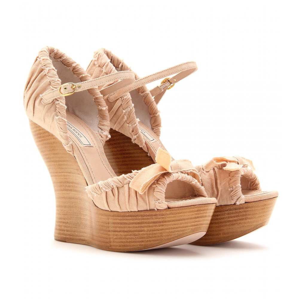 mytheresa.com -  Nina Ricci - RUCHED LINEN WEDGES  :  bow studded wedge fashionable wedges ruched linen wedge shoes stylish designed wedge
