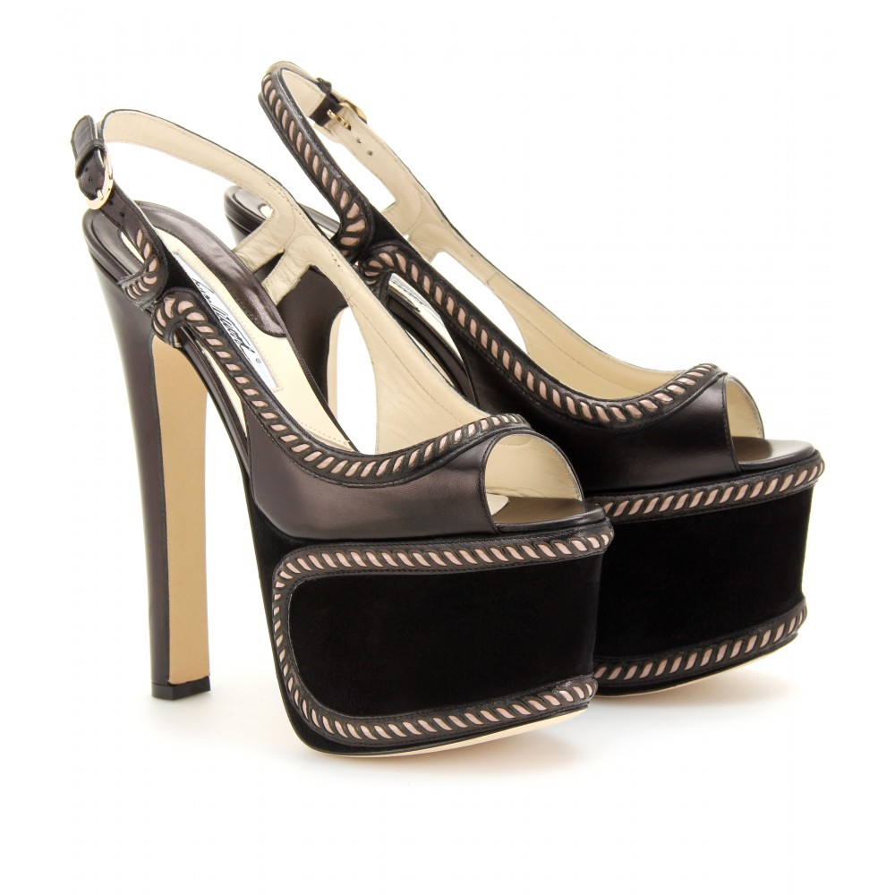 mytheresa.com -  Brian Atwood - MONSTER SUEDE PLATFORM SANDALS - Luxury Fashion for Women / Designer clothing, shoes, bags :  sexy dress shoes black slingback hot fashion heels