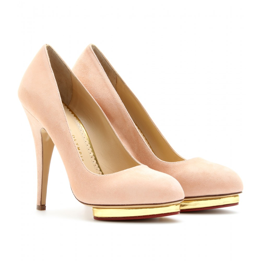 mytheresa.com -  Charlotte Olympia - DOTTY SUEDE PUMPS - Luxury Fashion for Women / Designer clothing, shoes, bags :  prom heels