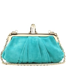 MINI LOUBI LULA VELOURSLEDER CROISSANT CLUTCH