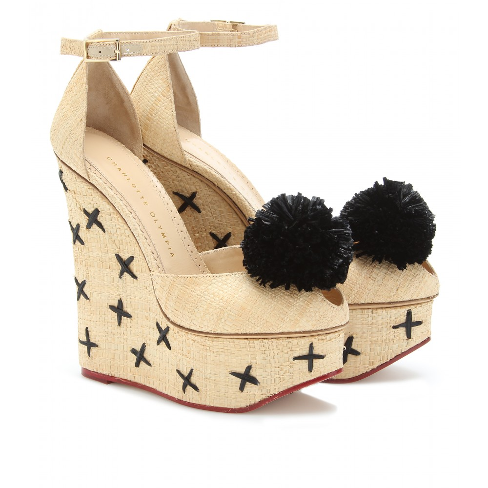 mytheresa.com -  Charlotte Olympia - MELODY RAFFIA PLATFORM WEDGE SANDALS - Luxury Fashion for Women / Designer clothing, shoes, bags :  charlotte wedge