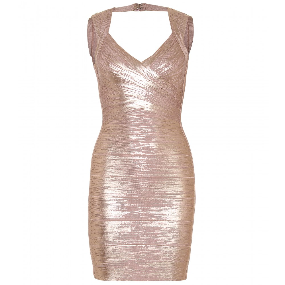 mytheresa.com -  Hervé Léger - :  fashionable designed dress gold sexy dress hot style clothing sexy mini dress