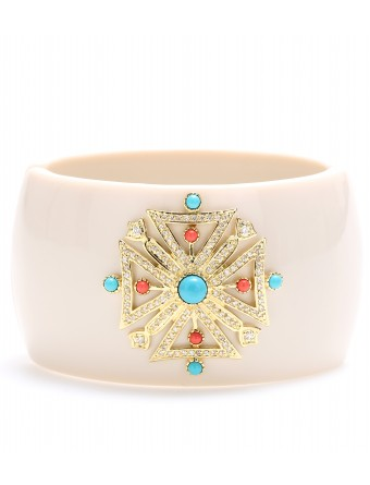 CZ by Kenneth Jay Lane - OVAL HINGE CUFF WITH EMBELLISHED STONES  :  emblishment stones bracelet luxury bracelet