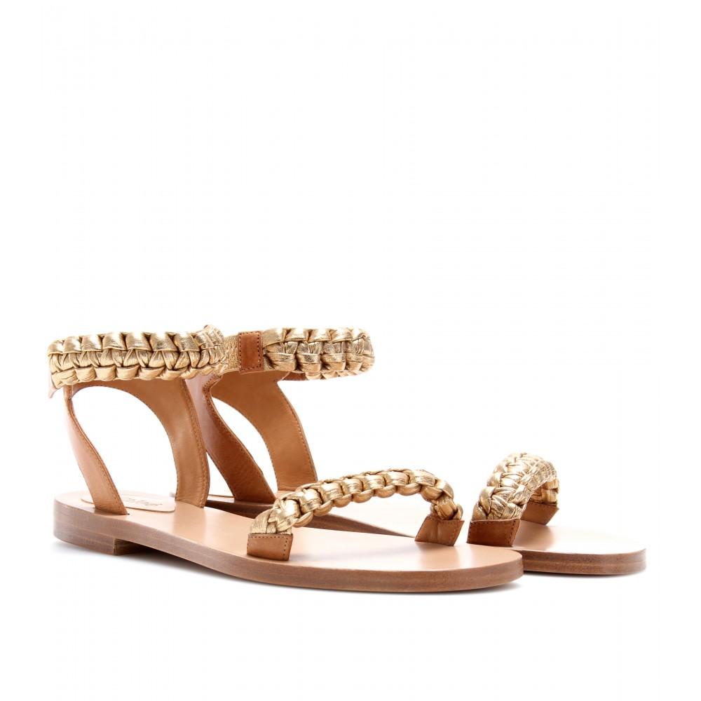  FLAT LEATHER SANDALS WITH BRAIDED STRAPS - Luxury Fashion for Women / Designer clothing, shoes, bags
