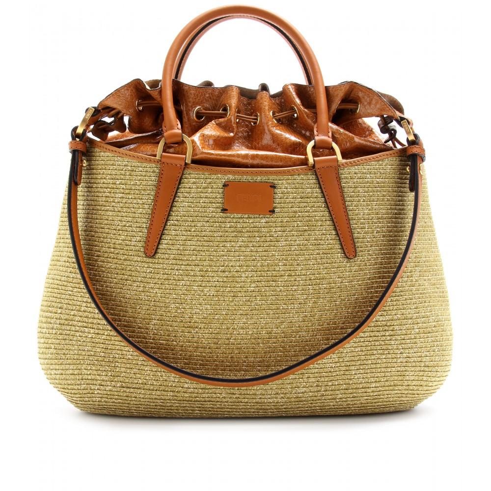 B.FAB SNAKESKIN DETAILED RAFFIA TOTE :  raffia bags designed bags fabric bags