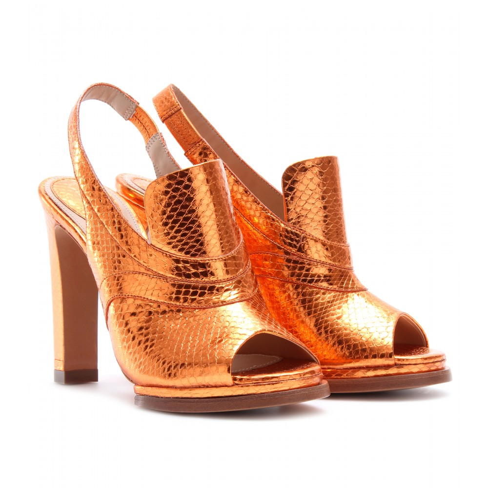 mytheresa.com -  Chloé - SNAKESKIN OPEN-TOE SLING-BACK MULES - Luxury Fashion for Women / Designer clothing, shoes, bags :  chucky heels perfect heels