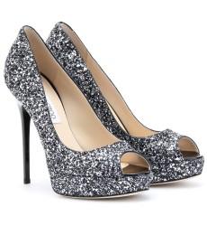 Jimmy Choo Glitter Platform Peep-toe Heels
